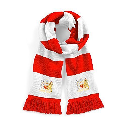 Retro Manchester United 1970s Red//White Football Scarf Embroidered Logo