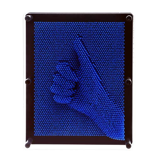E-FirstFeeling 3D Pin Art Sculpture Extra Large 10'' X 8'' Pin Impression Hand Mold Board Toy Gift - Blue by E-FirstFeeling (Image #5)