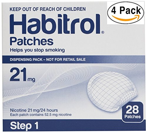 Novartis Habitrol 21mg Nicotine Patches, Step 1. Stop Smoking. 4 boxes of 28 each (112 patches)
