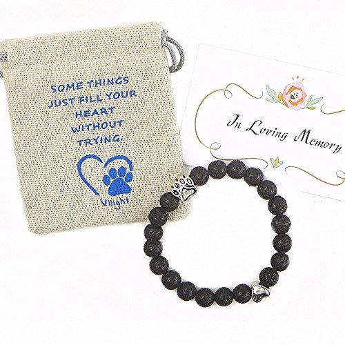 Vilight Pet Memorial Bracelet - Natural lava stone Dog Cat memory Gifts Set - with Loss of Pet Card and Paw Print Package – Black