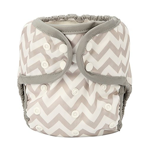 One Size Cloth Diaper Cover Snap With Double Gusset (Grey Chevron)