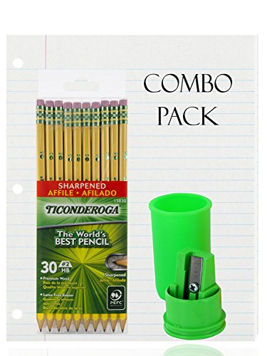 Sharpener Pack (Filler Paper, Loose Leaf Paper, Wide Ruled Paper, 200 Sheets - Dixon Ticonderoga Wood-Cased Pencils, 2 HB, Yellow, Box of 30 - Container Pencil Sharpener 1 hole - Combo Pack - (30 Pencils))