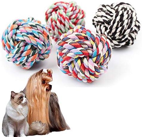 犬のホリデーギフト おもちゃの犬、綿の結び目の犬のおもちゃ、屋外トレーニング用の歯の犬のおもちゃのクリーニング トラブルと喜びを減らす (Color : Random Color, Size : Appr. 6cm (Dia.))