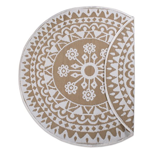 DII Contemporary Indoor/Outdoor Lightweight Reversible Fade Resistant Area Rug, Great For Patio, Deck, Backyard, Picnic, Beach, Camping, & BBQ, 5' Round, Taupe Floral ()