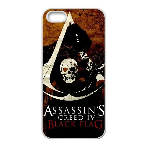 H2K82 s Creed noir Drapeau W1E6JX coque iPhone 5 5s cellule de cas de téléphone couvercle coque blanche XE9GCS5IH