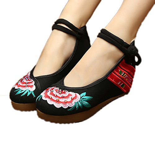 AvaCostume Womens Embroidery Cheongsam Casual Platform Wedges Chinese Black 40