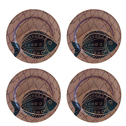(Ocean Designs Melamine Plates & Bowl Sets - Starfish, Seahorse, Crab & Fish Designs (Set of 4 Plates, Fish))