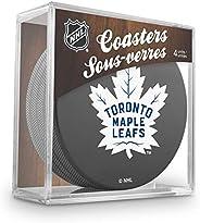 Inglasco Team Logo Hockey Puck Coasters (4) Pack - Maple Leafs