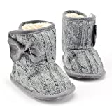 Diamondo New Baby Girls Winter Snow Boots Infant Solid Bowknot Shoes Prewalker (13:12-18months, Grey)