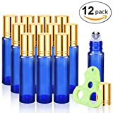 Olilia Glass Roller Bottles with Metal Rollerball, Essential Oils Opener Key included 12 Pack of 10ml (1/3oz) (Blue - Gold Lids)