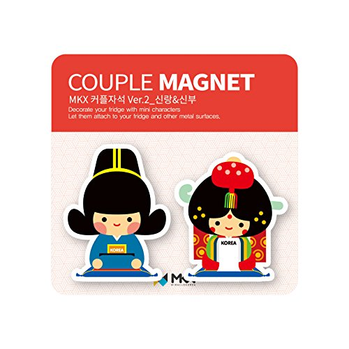 Mkx Costumes (Groom and Bride Couple Fridge Magnet Joseon Dynasty Korea Traditional Wedding Costume Memo Holder)