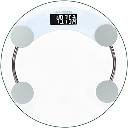 Amazon Com Bathroom Scales Digital Round Transparent Tempered Glass 180kg Electronic Weight Scale Battery Power Supply Sports Outdoors