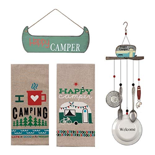 FAKKOS Design RV Decor Happy Camper Towels Hanging Wooden Sign Retro Vintage Theme Welcome Wind Chimes