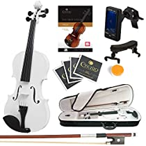 Mendini Size 1/2 MV-White Solid Wood Violin with Tuner, Lesson Book, Shoulder Rest, Extra Strings, Bow and Case