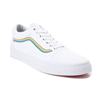 dbc8a60d85f93 Vans Unisex Authentic Skate Shoe Sneaker (Mens 4.5/Womens 6, White Rainbow  7266)