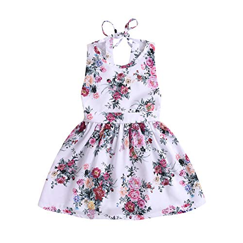 - Toddler Baby Girls Summer Clothes Set Sleeveless Halter Lace Floral Dress Princess Outfit (White, 4-5T)