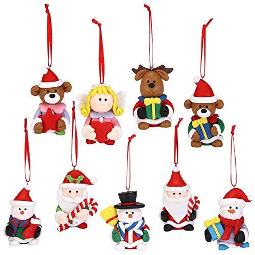 Sea Team Assorted Clay Figurine Ornaments Cute Traditional Snowman, Santa Clause, Reindeer, Angel Doll Hanging Charms Christmas Tree Ornament Holiday Decorations, Set of 9 ()