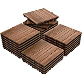Yaheetech 27PCS Patio Pavers Interlocking Wood Flooring Deck Tiles Fir Wood and Plastic Indoor Outdoor Applications Stripe Pattern 12 x 12in