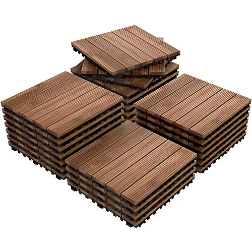 Yaheetech 27PCS Patio Pavers Interlocking Wood Flooring Deck Tiles Fir Wood and Plastic Indoor Outdoor Applications Stripe Pattern 12 x 12in (Outdoor Wood Tiles)
