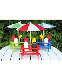 Purchase Back Yard Umbrella picnic table Shaped Mustard Ketchup Salt & Pepper shaker Condiment caddy Set 13.5