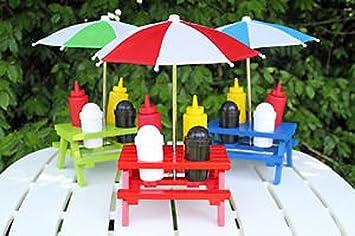 Beautiful Back Yard Umbrella Picnic Table Shaped Mustard Ketchup Salt U0026 Pepper Shaker  Condiment Caddy Set 13.5u0026quot