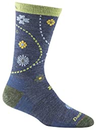 Darn Tough Vermont Women\'s Spring Garden Crew Light Cushion Hiking Socks, Denim Heather, Medium