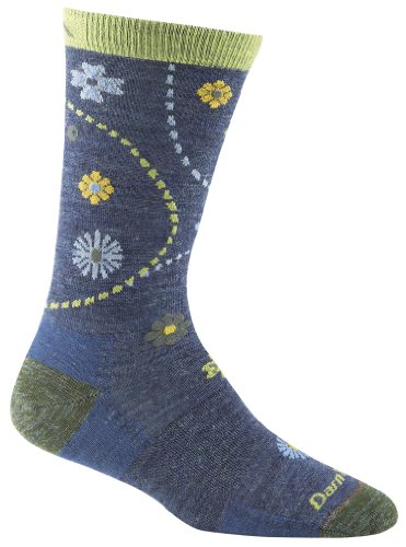 omen's Spring Garden Crew Light Cushion Hiking Socks, Denim Heather, Large ()