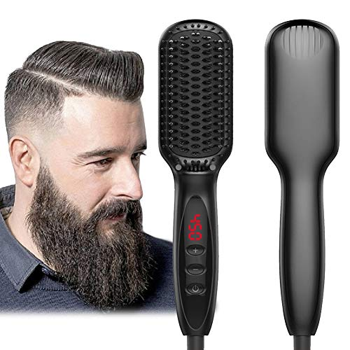 Beard Straightener for Men Ionic Beard Straightener Comb 2019 New Design Electrical Heated Hair Straightening Brush with Faster Heating, PTC Ceramic Technology, Auto Temperature Lock, For Home Travel