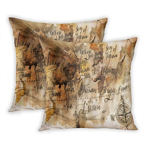 Suike Set of 2 Throw Pillow Covers Old Vintage Map Watercolor Fragment China Korea Japan Taiwan Watercolour Asian Polyester Soft Cozy Square Decorative Pillowcases for Sofa Bedroom 20x20 Inches