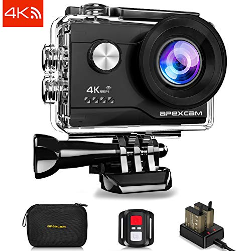 Apexcam 4K 16MP WIFI Action Camera Underwater Waterproof Camera Sports Camera Camcorder Ultra HD 40M 170°Wide-Angle 2.4G Wireless Remote Control 2.0'' LCD Screen 2 Rechargeable Batteries and Accessories Kit