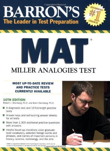 Pdf Test Preparation Barron's MAT: Miller Analogies Test (Barron's: The Leader in Test Preparation)