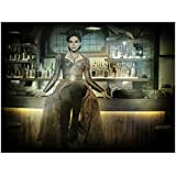 Once Upon A Time Lana Parilla as Regina Mills / Evil Queen Sitting Regally Hands Slightly Out From Sides Legs in Front Shadowy Artistic Shot 8 x 10 Inch Photo