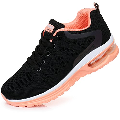 Rosone Women's Breathable Fashion Walking Sneakers Lightweight Athletic Tennis Running Shoes US5.5-10 (7 B(M) US, Black-Orange)