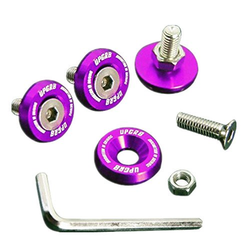 Upgr8 U8201-1007 Aluminum 10mm 4 Pieces Fender Washer Kit (Purple)