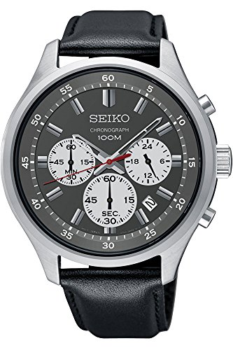 Seiko-Chronograph-Black-Dial-Leather-Mens-Watch-SKS595