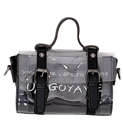 Para Mujer Summer Jelly Semi-clear Tote Bolsos PVC Beach Hombro Messenger Crossbody Bag Bolsos De Noche Para Niñas Ladies Black