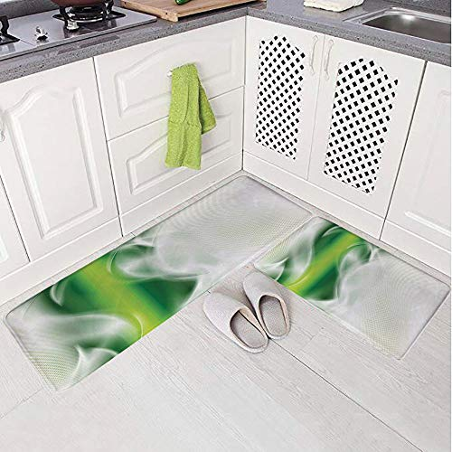 - 2 Piece Non-Slip Kitchen Mat Rug Set Doormat 3D Print,Green Strip with Wavy Detailed Design Image,White,Bedroom Living Room Coffee Table Household Skin Care Carpet Window Mat,