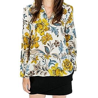 GigaMax(TM) Spring Autumn Yellow Flower Print Blusas Femininas Casual Chiffon Blouses Women Sexy