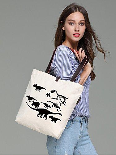 So'each Women's Dinosaur Skull Graphic Canvas Handbag Tote Shoulder Bag
