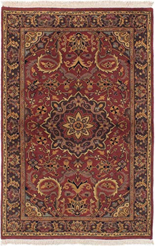 (eCarpet Gallery Area Rug for Living Room, Bedroom | Hand-Knotted Wool Rug | Finest Agra Jaipur Bordered Brown Rug 3'7