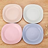 UPSTYLE Wheat Straw Healthy Children Plates and Unbreakable Dinner Plate Tableware Dish for Kids, 4colors a set, Square