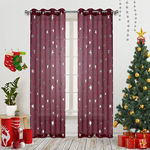 Gold Dandelion Nursery/Kid's Bedroom Essential Sheer Curtains with Foil Print Siver Star Cute and Glitter Grommet Window Draperies for Girls Bedroom 63 inch Long 2 Panel Burgundy