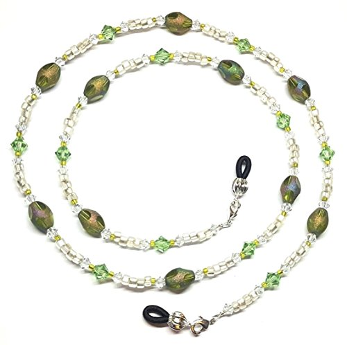Stardust Mix (Peridot Austrian Crystal / Lime Green Pastel Star Dust Bead Mix Eyeglass Chain)