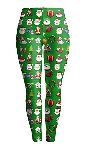 DREAGAL Holiday Symbols All Over Juniors Ugly Christmas Leggings Green X-Large -