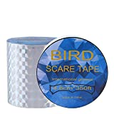 BlueStraw Bird Scare Tape - Simple Banding Equipment, Double Side Garden Protector 2 Pack (4.8cm/150ft)
