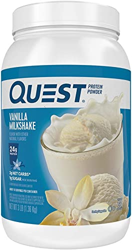 Quest Nutrition Vanilla Milkshake Protein Powder, High Protein, Low Carb, Gluten Free, Soy Free, 48 Ounce Pack of 1