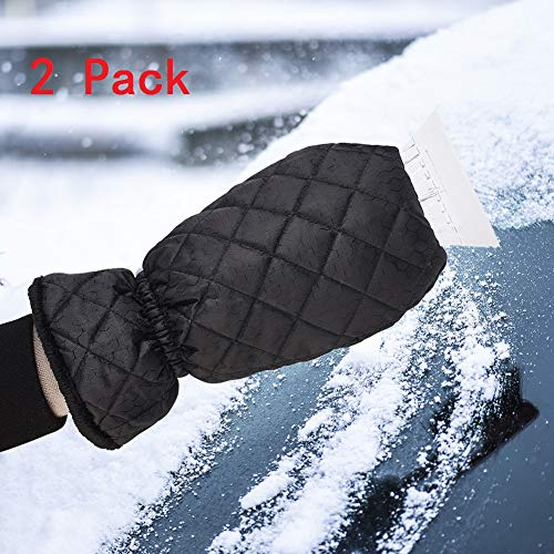 - 2pcs Winter Snow Gloves Scraper, PS Blade Scraper Ice Mitten, Waterproof Thick Fleece Elastic Wristband Oxford Cloth Cleaning Snow Shovel Scraper Tool for Car Windshield