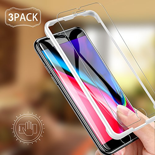 [3 PACK] iPhone 8 Plus Screen Protector, LK [Tempered Glass][Case Friendly] DoubleDefence Technology [Alignment Frame Easy Installation] [3D Touch] with Lifetime Replacement Warranty