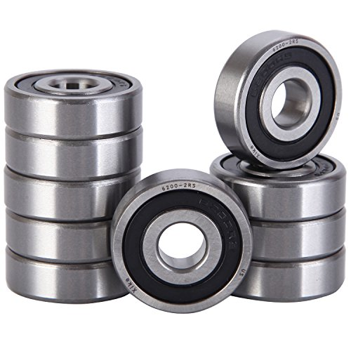 (XiKe 10 Pcs 6200-2RS Double Rubber Seal Bearings 10x30x9mm, Pre-Lubricated and Stable Performance and Cost Effective, Deep Groove Ball Bearings.)