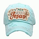 HBS001 Y'all Need Jesus Light Blue Vintage Baseball Cap.